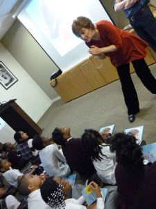 Doreen captivates students' attentions while explaining why she was inspired to write the book.