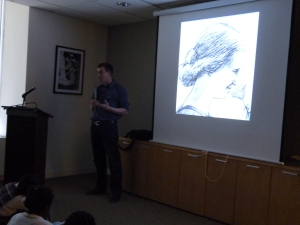 Matt shows students his illustration process.  Above, a sketch of what would become the cover of the boo