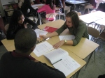 BtB YEB member Hillary works with 10th graders on their short stories